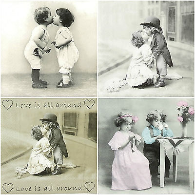 4x Paper Napkins -Forever Love- for Party, Decoupage Vintage Mix
