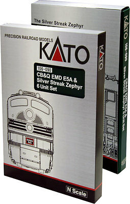 "Kato 106-090 N Cb&q ""silver Streak"" 6 Pc Bookcase Set"