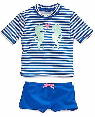 NEW NWT Girls 24 Months 2 Piece Bathing Suit Seahorse UPF 50% Top and Shorts