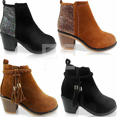 New Girls Childrens Low Block Heel Chunky Chelsea Tassel Ankle Boots Shoes Size