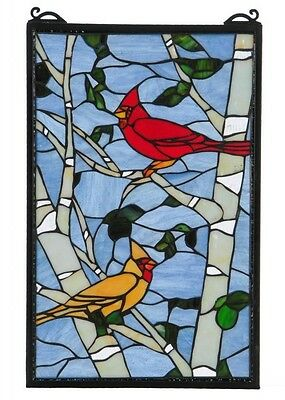 Stained Glass Panel for Window Suncatchers Decorations Mission Victorian Birds