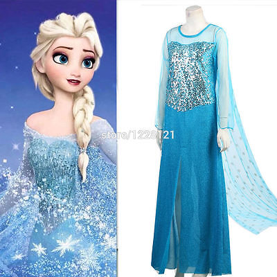 women Elsa Princess Costume Fancy Blue Dress Halloween cosplay SIZE S