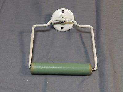 Vtg Mid Century Whitw Green Toilet Tissue Paper Holder Old Bathroom 1712-16