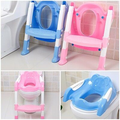 Baby Foldable Potty Trainer Chair Step Toilet Seat Safety Non-Slip Ladder Stool