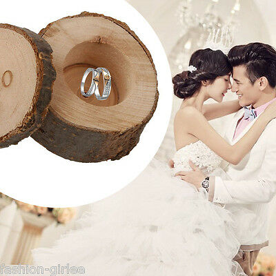 Personalized Round Wooden Wedding Ring Jewelry Box Wood Storage Container Case