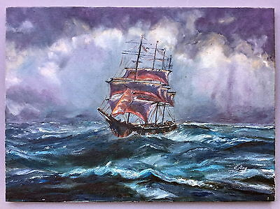 P Hay old Sailing Galley oil painting on canvas unframed