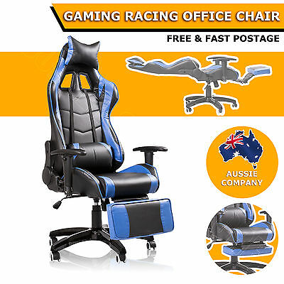 180 Degree Reclining Ergonomic High Back Gaming Racing Office Chair Seat Blue