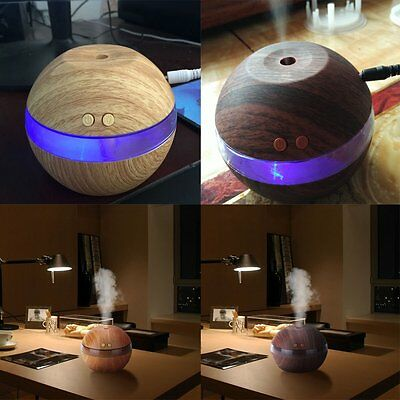 Wood Ultrasonic Aroma Diffuser Humidifier Air USB LED Oil Purifier Aromatherapy