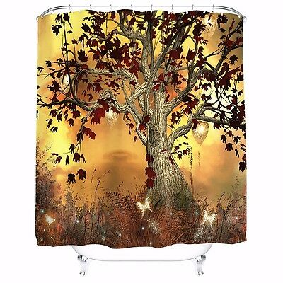 Old Árbol Halloween Cortina De Baño Ducha Impermeable 12 Ganchos Shower Curtain
