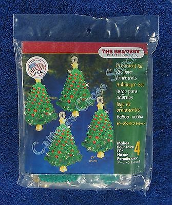 "Christmas Bead Kit Emerald Tree Twist Ornament Makes 4 3.5"" 9 cm Quick & Easy"