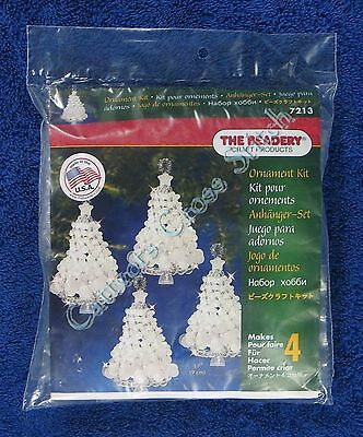 "Christmas Bead Kit Crystal Tree Twist Ornament Makes 4 3.5"" 9 cm Quick & Easy"