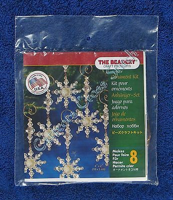 "Christmas Bead Kit Snow Crystal Danglers Ornaments Makes 8 4"" x 2"" Quick Easy"