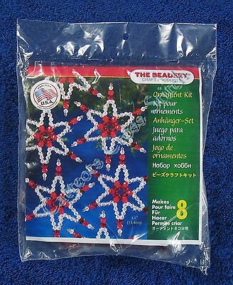 "Christmas Bead Kit Ruby Star Ornaments Makes 8 5.25"" 13.4 cm Quick Easy"