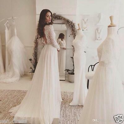Lace Chiffon Beach Wedding Dresses Long Sleeve Open Back Long Bridal Gown Custom
