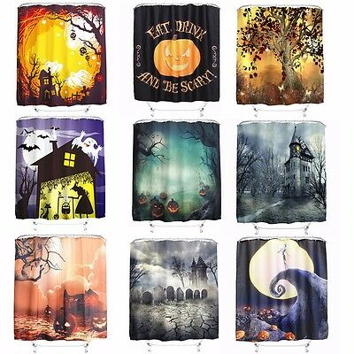 Halloween Xmas 3D Cortina De Baño Ducha Impermeable + 12 Ganchos Shower Curtain
