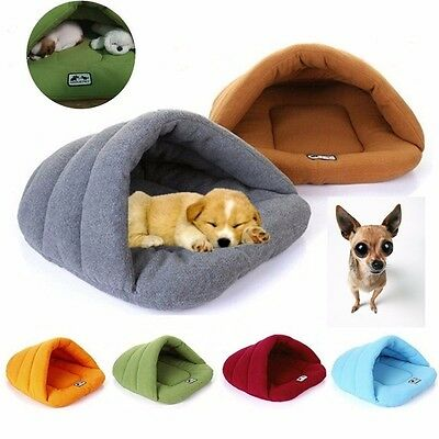 Pet Dog Cat Puppy Cave Crate Cozy Warm Winter Bed House Sleeping Bag Plush Mat