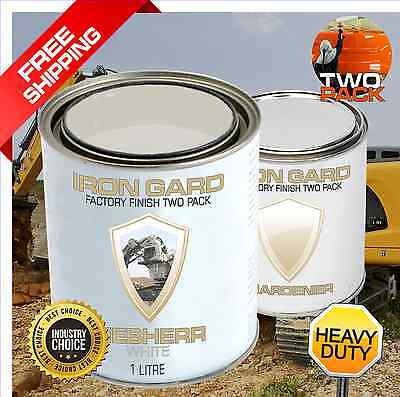 IRON GARD 1L Two Pack Paint LIEBHERR WHITE Excavator Shovel Mining Equipment Dig