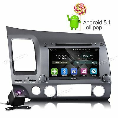 "Camera+ 8"" Android 5.1 OS Car DVD Player GPS Radio Stereo OBD2 for Honda Civic e"
