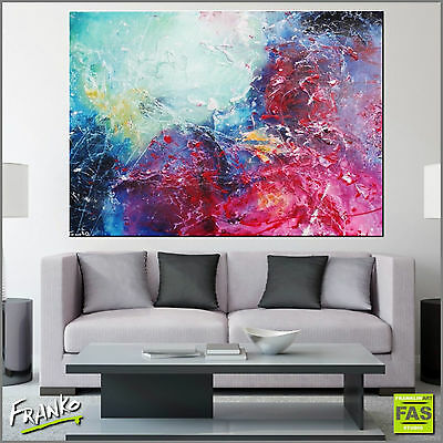 ORIGINAL ABSTRACT TEXTURE PAINTING CANVAS COLOURFUL 140cmx100cm Franko Australia