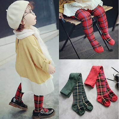 Toddler Kid Baby Girl Plaids Tights Pantyhose Pants Trousers Stockings Socks 0-6