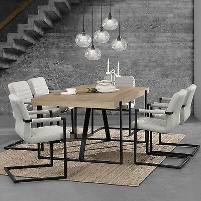 [en.casa] Dining Table Oak Whitewash with 6 Chairs 180x100 Ivory White