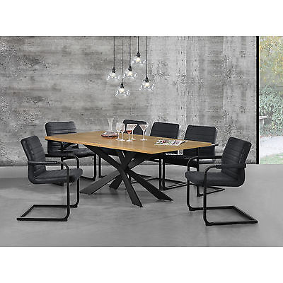 [en.casa] Dining Table Oak Natural with 6 Chairs 200x100 black Modern