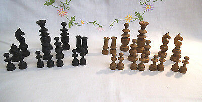 Vintage Wooden Chess Pieces - c. 1950s - Incomplete Set
