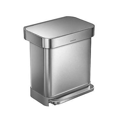 CW2028 Simplehuman stainless steel 30L rectangular pedal bin with bin bag pocket