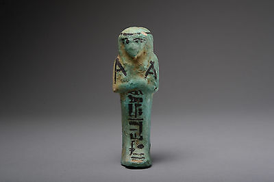 Ancient Egyptian Faience Shabti Figure of Padikhonsu