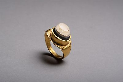 Ancient Roman Gold Banded Agate Jewelry Finger Ring - 200 AD