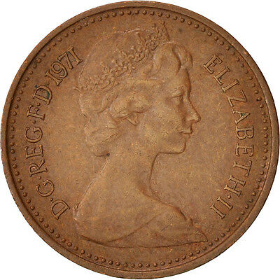 [#413774] Great Britain, Elizabeth II, 1/2 New Penny, 1971, AU(50-53), Bronze
