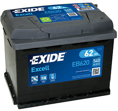 BATTERIE AUTO EXIDE EB620 - 62Ah 540A - Gamme Excell