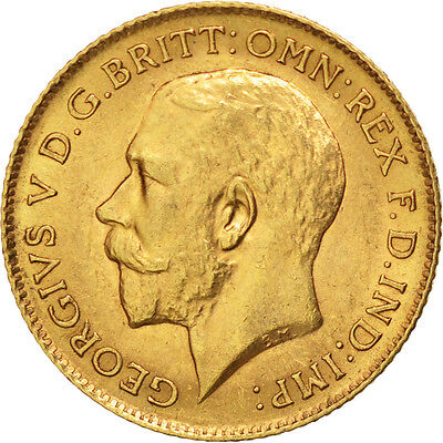 GREAT BRITAIN, 1/2 Sovereign, 1913, KM #819, AU(55-58), Gold, 4.02