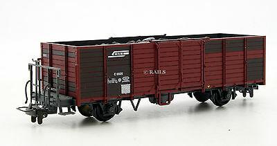 BEMO HOm GAUGE RhB OPEN PLANK WAGON E6605 WITH COAL LOAD (T3)