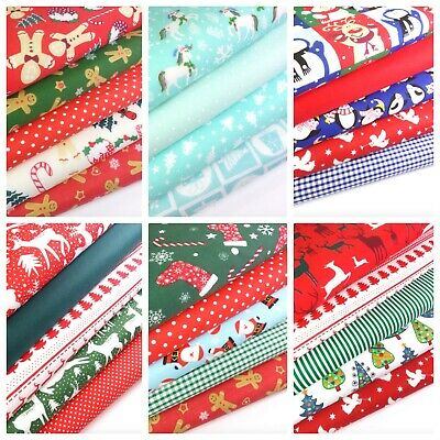 Christmas Patterned Fabric bundles Fat Quarters Polycotton Material Craft