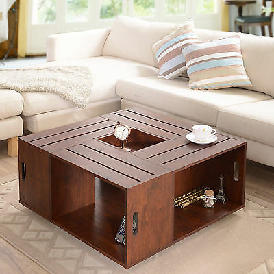 Walnut Brown Open Shelf Storage Square Coffee Table Home Living Furniture