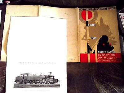 Ancien Port-Folio Chemins De Fer Plm Expo Colo 1931 7 Cahiers Doc Locomotives Tb