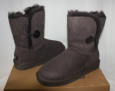8555d84eed6 UGG WOMEN'S BAILEY Button Chocolate Brown Suede boots 5803 New With Box!