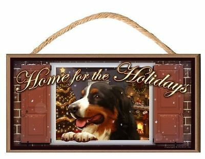 Bernese Mountain V2 Dog Home for the Holidays Paws on the Windowsill Dog Sign