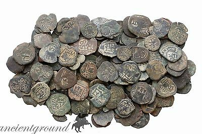 One Bid One Lot Of 10 Top Quality Partial Clean Spain Pirates Coins 1550-1665Ad