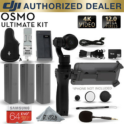 DJI Osmo Handheld 4K Camera and 3-Axis Gimbal with 3 Batteries, Mic & 64GB KIT