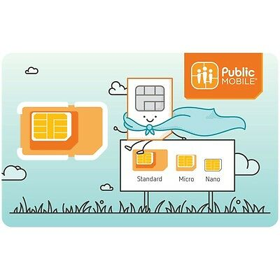 Public Mobile SIM MicroSIM NanoSIM Brand New 3 in 1 *Pack 20*