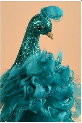 """Elegant 30"""" Teal Blue Feather and Glitter Peacock with Clip Wedding Decoration"""