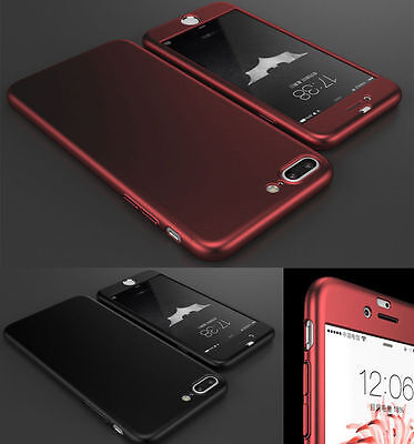 For Apple iPhone 7 / Plus Hybrid 360° Shockproof Slim Hard case & Tempered Glass