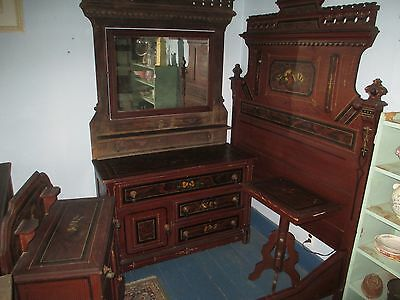 Victorian 4 Piece Bedroom Set - Full Size Bed, Vanity, Commode - Tear Drop Pulls