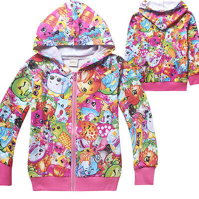 Lovely Shopkins Kids Girl Fleece Zipper Hoodie Sweater Sweatershirt