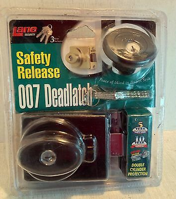 Lane Security Safety Release Deadlatch, Double Cylinder, Brown (6519)