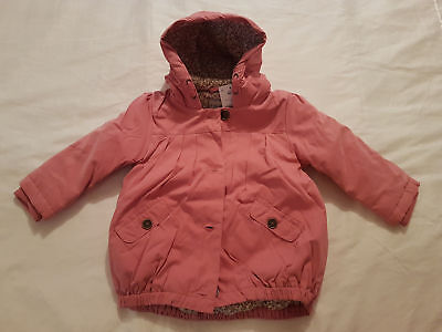 Next Baby Girls Pink Padded Hooded Fleece Lined Jacket / Coat 3-6 Months Bnwt