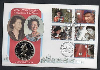 GB/Alderney 1992 40th Anniversary of the Accession to the Throne £2 Coin Cover