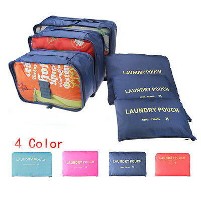 6pcs Clothes Underwear Socks Packing Cube Storage Bags Travel Luggage Organizer